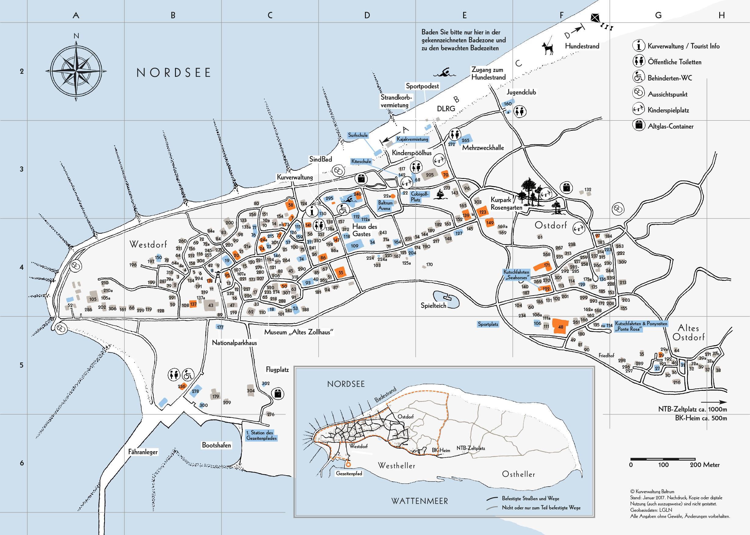 Karte Mit Hausnummern.Die Insel Baltrum Inselkarte